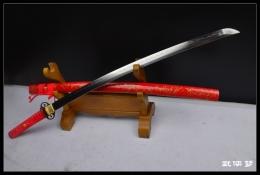 红色柳丝花纹钢烧刃打刀|花纹钢|武士刀|★★★