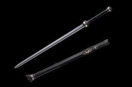 扭转纹烧刃鎏金银八面饕餮剑|龙泉宝剑|花纹钢烧刃