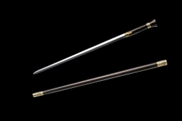 精雕复古扇头手杖剑|花纹钢|拐杖剑