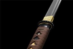 咖啡色卷柄普及直造武士唐刀|唐刀|碳钢|★★