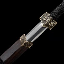 精品羽毛纹汉剑|汉剑|百炼花纹钢|★★★★