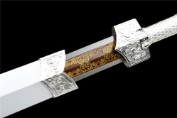 金属鞘四兽银装刻花八面汉剑|汉剑|高锰钢|金属鞘金属柄|★★