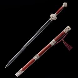 全银装朱鼻龙纹剑 汉剑 自炼复合手锻钢 ★★★★★