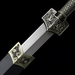 手工版四兽金属鞘汉剑|汉剑|百炼花纹钢|金属鞘金属柄|★★★