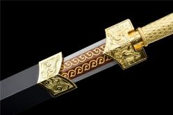 四兽金属柄刻花八面汉剑|汉剑|高碳钢60锰|★★